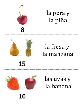 Spanish Fruit Vocabulary Scavenger Hunt Activity