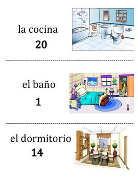 Spanish Room and Furniture Vocabulary Scavenger Hunt Activity
