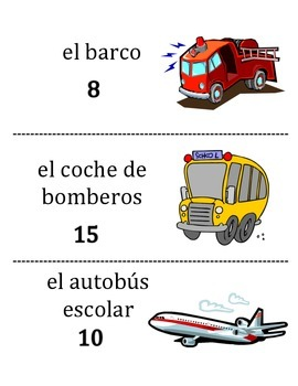 Spanish Transportation Vocabulary Scavenger Hunt Activity