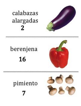 Spanish Vegetable Vocabulary Scavenger Hunt Activity