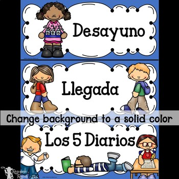Spanish Classroom Schedule Cards with Editable Backgrounds