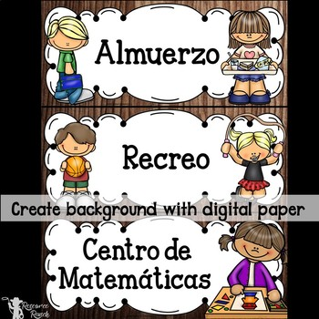 Spanish Classroom Schedule Cards Editable Backgrounds