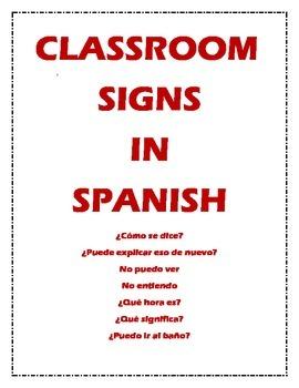 Spanish Classroom Signs