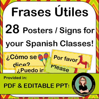 EDITABLE Spanish Classroom Signs / Posters, Useful Phrases and Questions