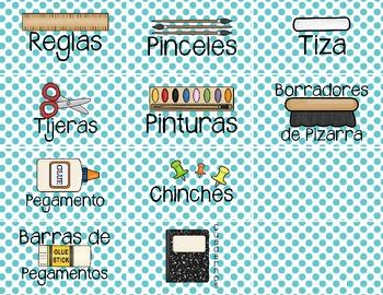 Spanish Classroom Supply Labels