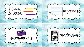 Spanish Classroom Supply Labels with Editable Designs