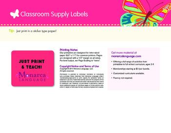 Spanish Classroom Supply Lables
