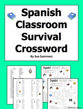 Spanish Classroom Survival Crossword Puzzle, Vocabulary and Image IDs