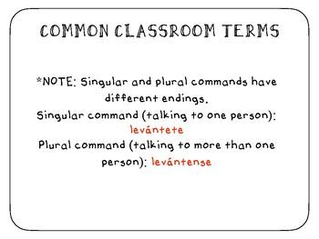 Spanish Classroom Terms