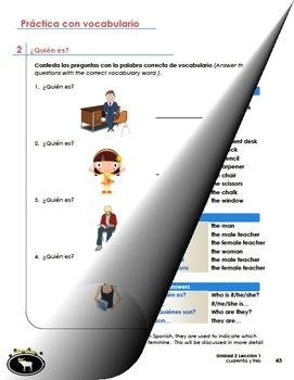 Spanish Classroom Vocabulary, Gender/Number of Nouns, Arti