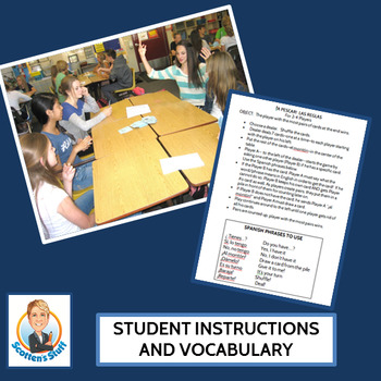 Spanish Classroom Vocabulary Go Fish Game