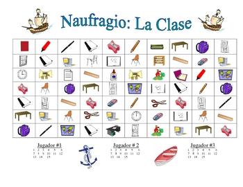 Spanish Classroom Vocabulary Speaking/Writing  Activity (Naufragio)