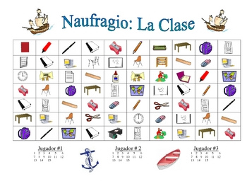 Spanish Classroom Vocabulary Speaking/Writing  Activity (Naufragio)