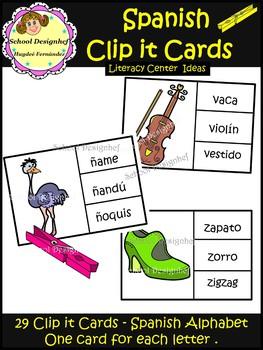 Spanish Clip It Cards - Literacy Center Ideas (School Designhcf)