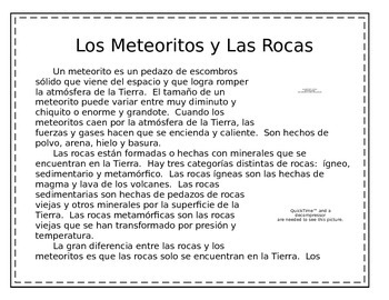 Spanish Close Reading---Meteorites and Rocks