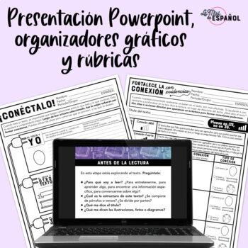 Spanish Close Reading Passage Organizers and PPT | Proceso de Lectura Conexiones