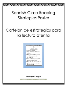Spanish Close Reading Poster