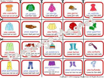 Spanish Clothes Presentation, Bingo Game and Audio Vocabulary Sheet
