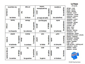 Spanish Clothing 4 x 4 Matching Squares Puzzle - La Ropa