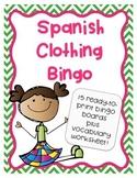 Spanish Clothing Bingo Activity Game - La Ropa - Plus Vocabulary Worksheet