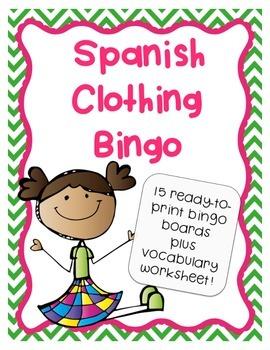 Spanish Clothing Bingo Activity Game - La Ropa - Plus Voca
