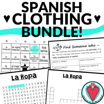 Spanish Clothing Bundle - Bingo, Word Search, Crossword & Speaking Activity
