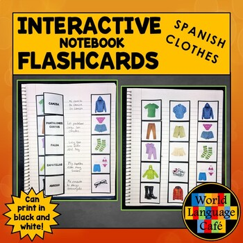 Spanish Clothing Flashcards, Clothes Interactive Notebook Flashcards, Ropa