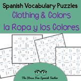 Spanish Clothing & Colors, La Ropa y Los Colores, Vocabulary Puzzle