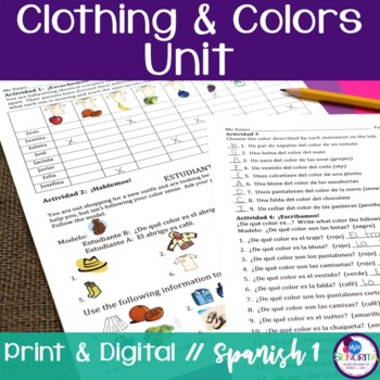 Spanish Clothing & Colors Unit Bundle