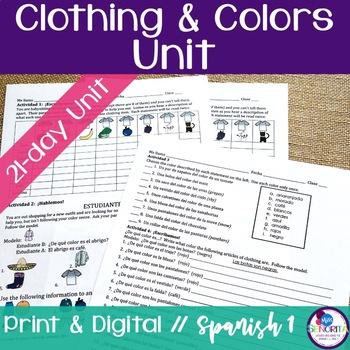 Spanish Clothing & Colors Unit