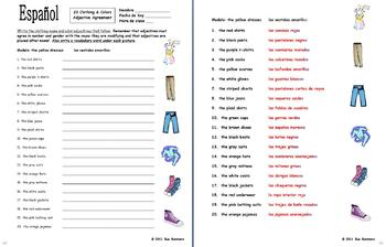 spanish clothing colors worksheet noun and adjective agreement. Black Bedroom Furniture Sets. Home Design Ideas
