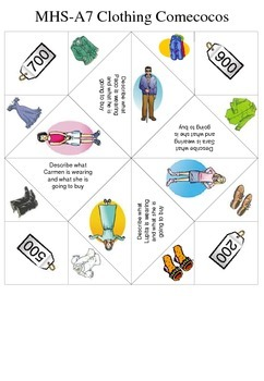 Spanish Clothing Comecocos de Papel Cootie-Catcher Fortune Teller Game