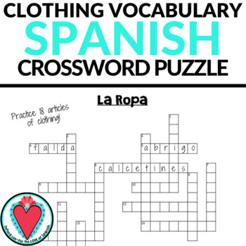 Spanish Crossword Puzzle - Clothing - Ropa