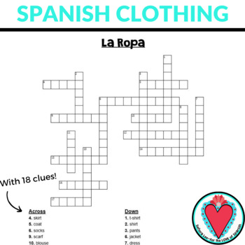 It's just a graphic of Printable Spanish Crossword Puzzle intended for teenager