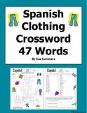 Spanish Clothing Crossword, Vocabulary IDs and Sentences