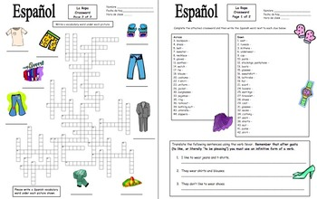 Spanish Clothing Crossword, Vocabulary IDs and Sentences