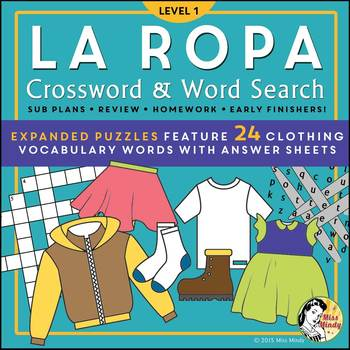 La Ropa (Expanded) Spanish Clothing Vocabulary, Word Search & Crossword Puzzles