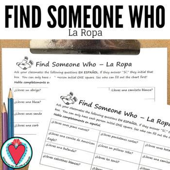 Spanish Speaking Activity - Spanish Clothing - Find Someone Who