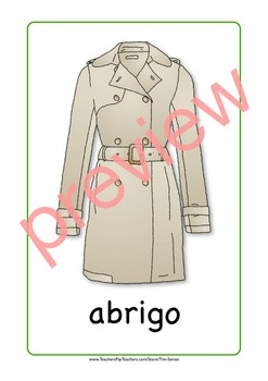 Spanish Clothing and Accessories Flash Cards. Socks, shirt, jacket, shoes...