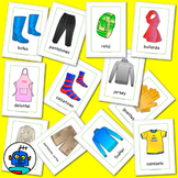 Spanish Clothing and Accessories Flash Cards. Socks, shirt