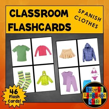 Spanish Clothing Flashcards, Clothes Large Flashcards