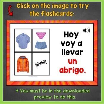 Spanish Clothing Flashcards, Spanish Clothing Digital Flashcards, Online, Ropa