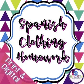 Spanish Clothing Homework