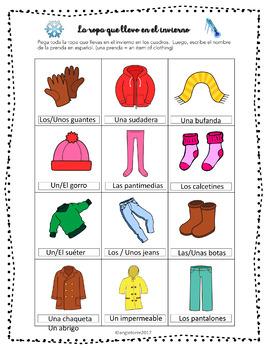 Spanish Clothing Interactive Notebook Activity