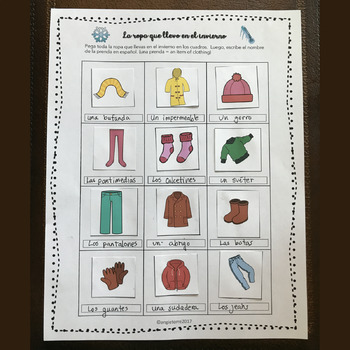 Spanish Clothing Interactive Notebook Activity