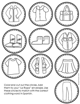 Spanish Clothing Interactive Notebook Activity or Game