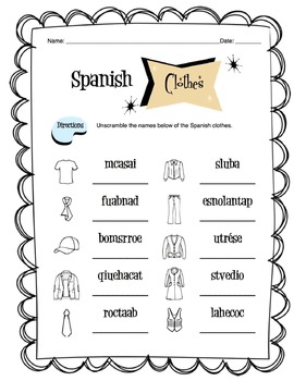 Spanish Clothing Items Worksheet Packet