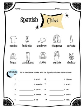 Spanish Clothing Items Worksheet Packet