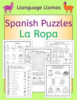 Spanish Clothing La Ropa Puzzles
