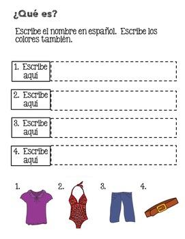 Spanish Clothing La ropa Google Drive Activity